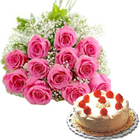 Dozen Pink Roses Bunch with Black Forest cake  to Thiruvananthapuram