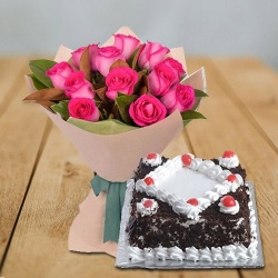 Glorious Pink Roses bunch with delightful Black Forest Cake to Billimora