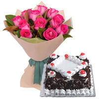 Glorious Pink Roses bunch with delightful Black Forest Cake to India