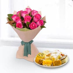 Mixed Sweets Box and Pink Roses Bouquet to Baraut