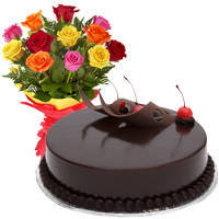 Sensational 12 Mixed Roses with 1/2 Kg Chocolate Cake to Ghaziabad
