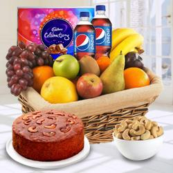 Plum Cake 1 Lb, Pepsi 2 Pet Bottles, Cadburys Celebration Pack, Fresh Fruits 2 Kg, Roasted Cashew 500 gms to Ahmadnagar