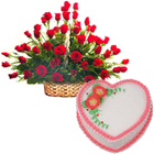50 Roses Arrangement and  Love Cake 2 Lbs to Hyderabad