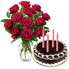 12 Red Roses Bunch with Chocolate Cake 2 Lbs to Calicut