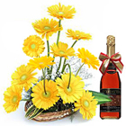 Vibrant Passel of Yellow Gerberas Accessorized by Fruit Juice to Belgaum
