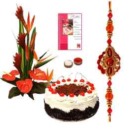Enticing Hamper with Attractive Rakhi with Seasonal Flower Bouquet,Baked Fresh Cake and Free Roli ,  tika and Chawal  to Bhagalpur
