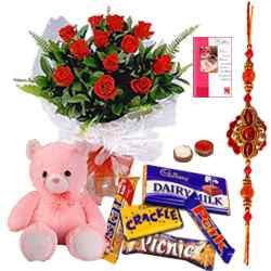 Graceful Teddy, Rose bunch and Chocolates along with Free Rakhi, Roli Tika and Chawal to Bhiwadi