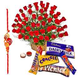 Lovely Cadburys with Red Roses and Free Rakhi, Roli Tika and Chawal to Aligarh
