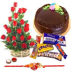 Free Rakhi, Roli Tika and Chawal with Sweet Cake, Rose bunch and Chocolates to Aligarh