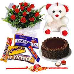 Wonderful Roses, Cake, Chocolates and Teddy along with Free Rakhi, Roli Tika and Chawal to Bhilai