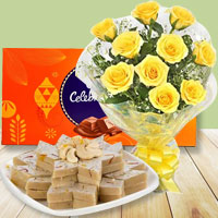 12 Yellow Roses with Cadbury Celebration and Kaju Katli to Gorakhpur