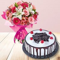 Mixed Flower Bouquet with Cake  to Gorakhpur