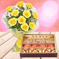 Yellow Roses with Assorted Sweets  to Gorakhpur