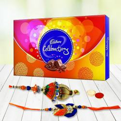 Cadbury Rakhi special Celebration pack with  Bhaiya Bhabhi Rakhi and free Roli Tika and Chawal to Aligarh
