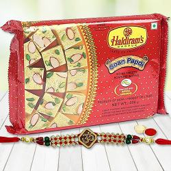 Rakhi with Haldiram Soan Papri  to Bulandsher