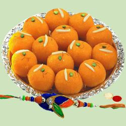 Rakhi with Pure  Ghee Laddoo to Gurgaon