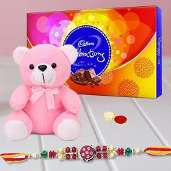 Teddy , Cadbury Celebration and Rakhi with free Roli Tika and Chawal to Amalampuram