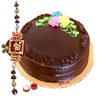 Enticing  Eggless Chocolate cake with Rakhi, Roli Tika and Chawal to Tumkur