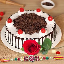 Tasty Rich black forest cake and beautiful rose coming together with designer rakhi, Roli Tilak, Chawal to Bangalore