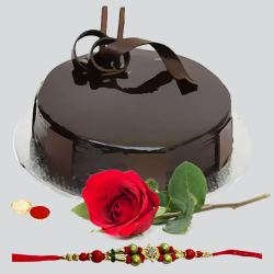 A Chocolate Cake  and single Red Rose with Free Designer Rakhi ,  Roli  Tilak an Chawal to Gurgaon