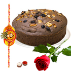 Fascinatng Chocolate Eggless cake n Red Rose and Free Rakhi ,  Roli Tilak, Chawal  to Bangalore