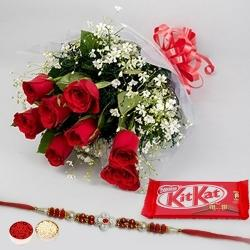 Rakhi with Red Roses and a free Kitkatt chocolate Pack to Barauipur
