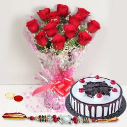 Rakhi with  Red Roses n Black Forest Cake to Amalampuram