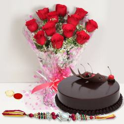 Rakhi with  Red Roses n Eggless Cake to Bhagalpur