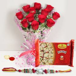Rakhi with  Red Roses n  Soan Papri to Amalampuram