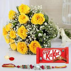 Rakhi with 12 yellow roses and Kitkat to Ludhiana