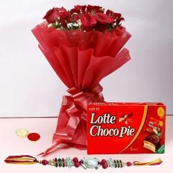 Rakhi with 12 Red Roses and Choco Pie Box to Gurgaon