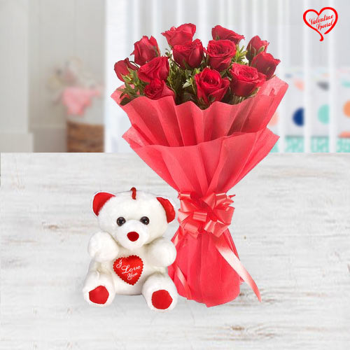 Exclusive Red Dutch Roses Bunch with a small teddy... to Aligarh