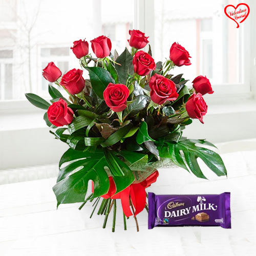 Exclusive Red Dutch Roses With Free Cadbury Chocol... to Aligarh