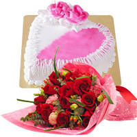 Hypnotic Red Dutch Roses Bouquet with Heart Shaped Cake to Bhubaneswar