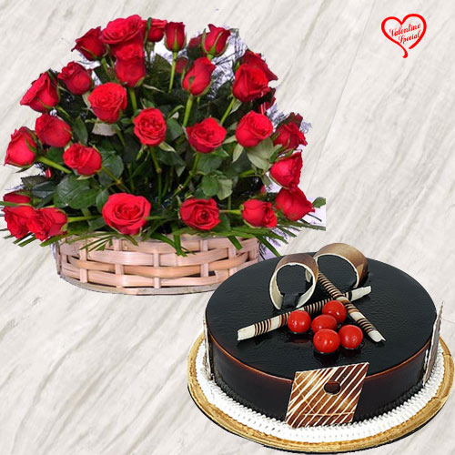 50 Dutch Red Roses Basket with Chocolate Cake to Aligarh