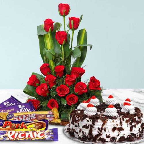 18 Dutch Red Roses Bouquet with 1 Lbs. Black Forest Cake and 1 Cadbury's Celebration to Amalampuram