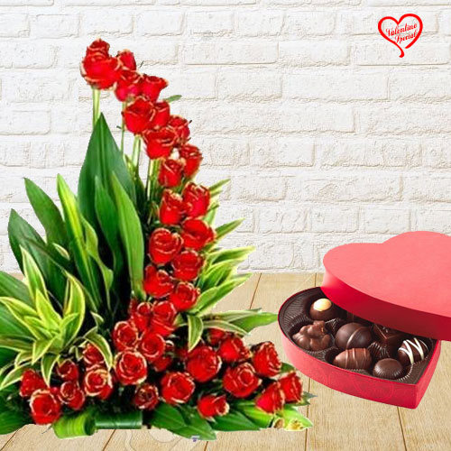 50 Exclusive Red Dutch Roses Arrangement with Hear... to Anand