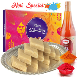 Kaju Katli with Thandai and Cadburys Celebration to Adilabad