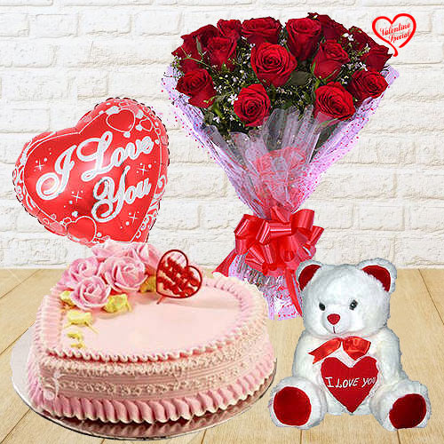 12 Exclusive Red Dutch Roses Bunch with Cute Teddy... to Anand