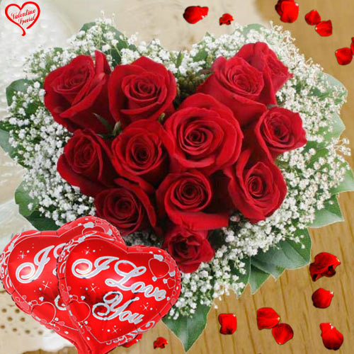 Dutch Red Roses in Heart Shape Arrangement with 2 ... to Sirsi