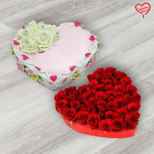 Heart Shape Dutch Red Roses with Heart Shape Cake to Sirsi