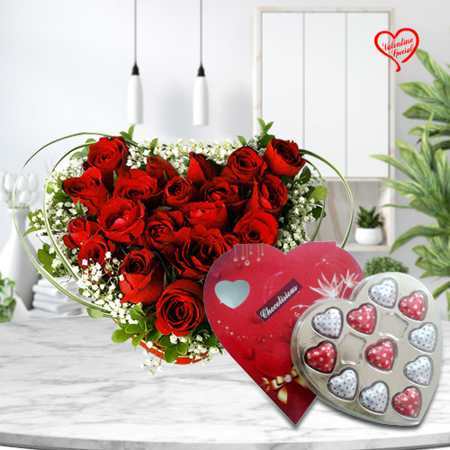12 Dutch Red Roses in Heart Shape Arrangement and ... to Sirsi