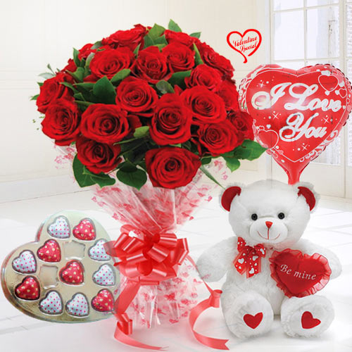 24 Exclusive Red Dutch Roses Bouquet and Heart Sha... to Aligarh