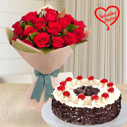 24 Exclusive Red Dutch Roses Bouquet and 1 Kg. 5 Star Bakery  Cake   to Cochin