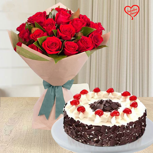 24 Exclusive Red Dutch Roses Bouquet and 1 Kg. 5 Star Bakery  Cake   to Amalampuram