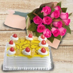 Pink Roses with 1 Kg Eggless Cake to New Delhi