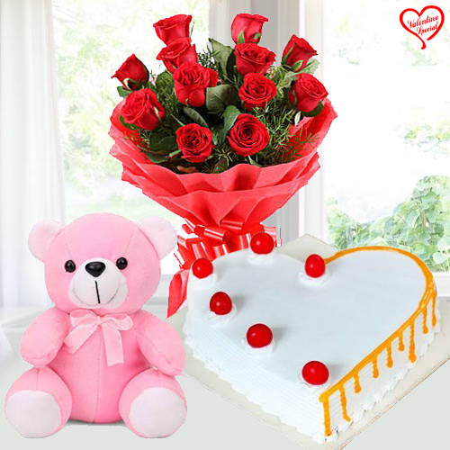Dozen Red Roses with Teddy Bear n Cake to Sirsi