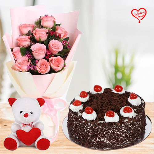 Cute Pink Roses with Cake n Teddy Bear to Anand