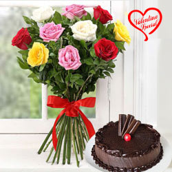 Dozen Assorted Roses n Cake to Cochin