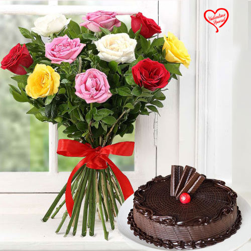 Dozen Assorted Roses n Cake to Amalampuram